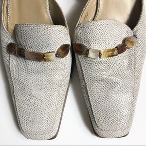 Stuart Weitzman Tan Beaded Mules